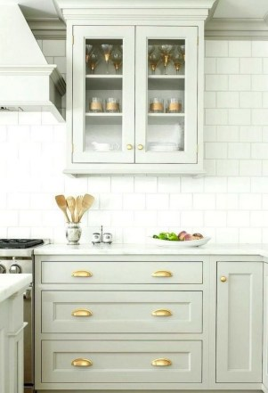 70+ Amazing Farmhouse Gray Kitchen Cabinet Design Ideas 71