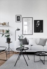 93+ Comfy Apartment Living Room in Black and White Style Ideas (50)
