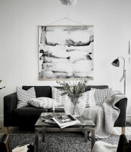 93+ Comfy Apartment Living Room in Black and White Style Ideas (88)