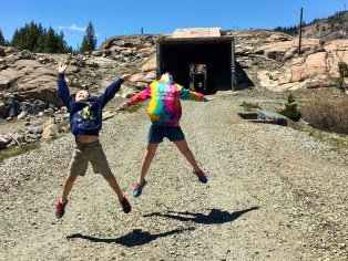 Family On Summit Tunnel Donner Pass Hike