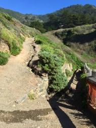Steep Hike Down Eroded Trail To Sand Dollar Beach