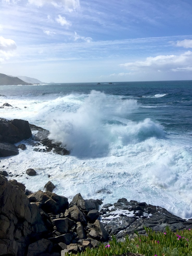 Waves Crashing ALong Big Sur Pacific Coastline
