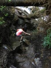 Slippery Hike Down Wet and Muddy Rocks