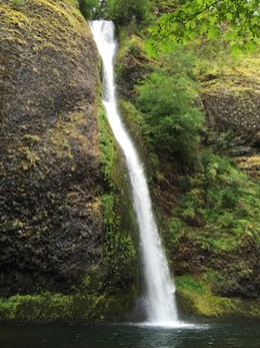 Horsetail Falls Waterfall Viewpoint In The Columbia River Gorge
