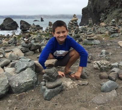 Carter Bourn Rock Stacking at Mile Rock Beach