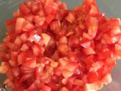 Chopped Roma Tomatoes For Bruschetta