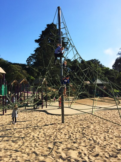 San Francisco Children's Playground With Rope Climbing Structure and Concrete Slides