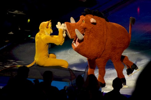 Simba and Pumba from The Lion King in Disney On Ice Passport to Adventure