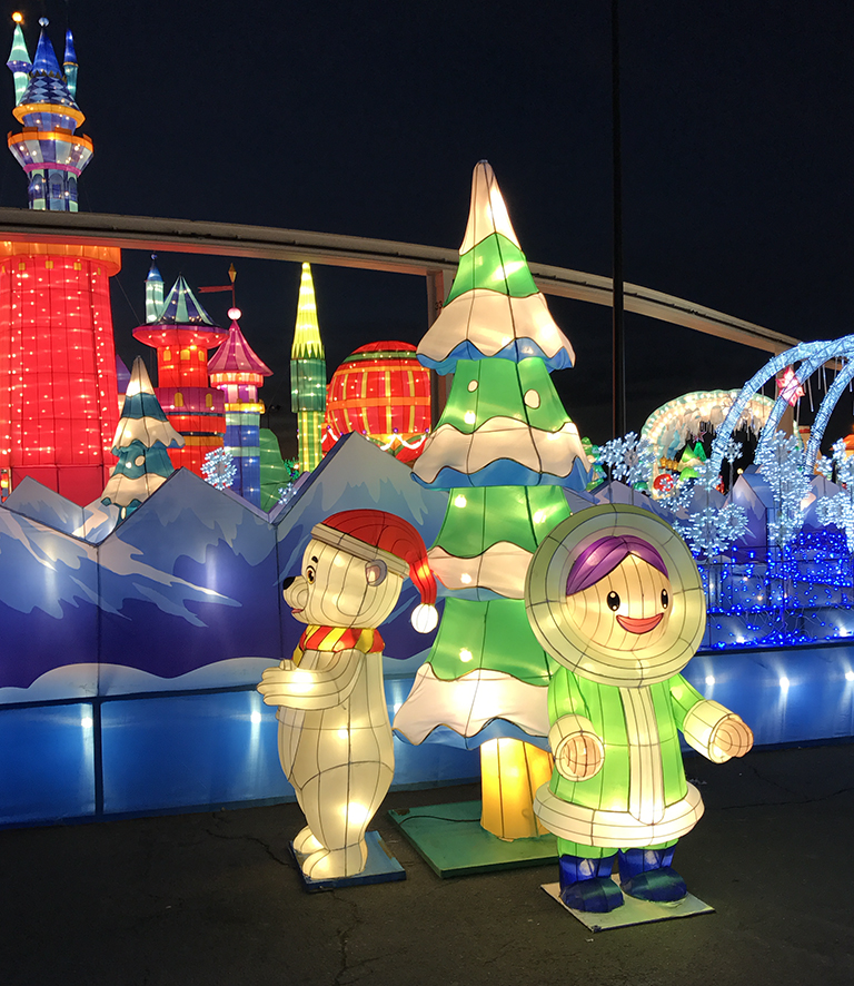 frozen ice maze for kids at global winter wonderland sacramento penguin christmas lantern display