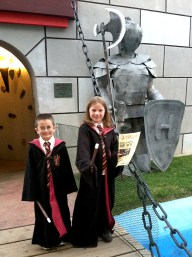 Harry and Hermione outside Hogwarts Castle at Fairytale Town