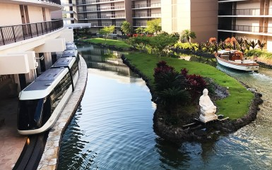 Mahogany Canal Boats and Air Conditioned Tram Transportation at Hilton Waikoloa Village