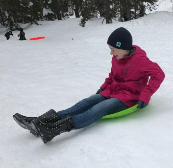 Sledding at the Donner Summit Sno-Park, Castle Peak Exit