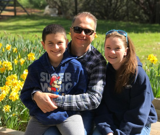 Brian Bourn and Kids at Daffodil Hill