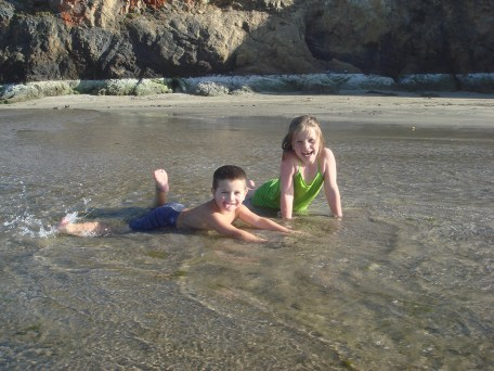 Natalie and Carter Playing In Pudding Creek in 2010