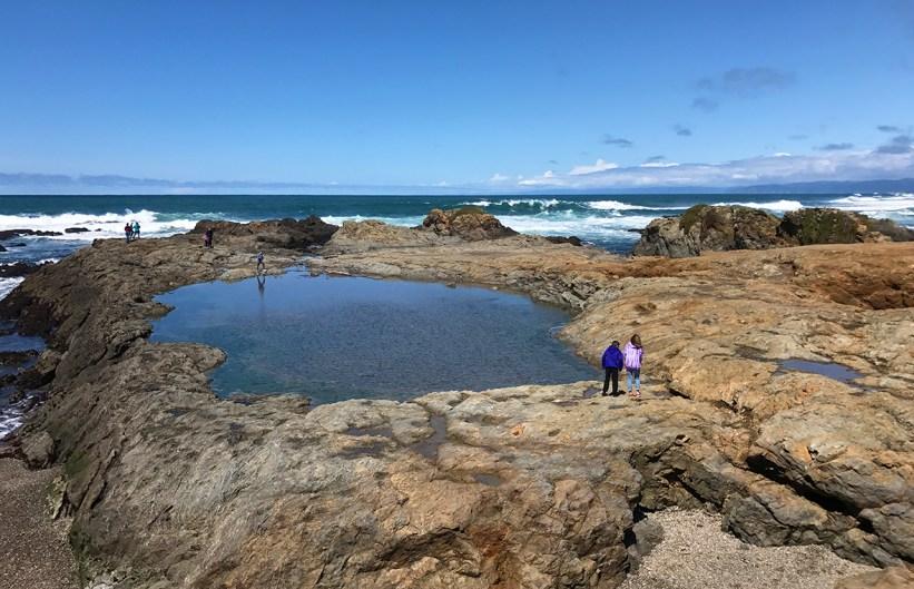 Natalie and Carter Bourn Exploring the Rocky Fort Bragg Coastline Near Glass Beach