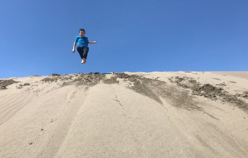 Jumping Down Northern California Sand Dunes