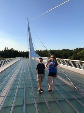 Natalie and Carter Bourn Walking Across the Redding Sundial Bridge