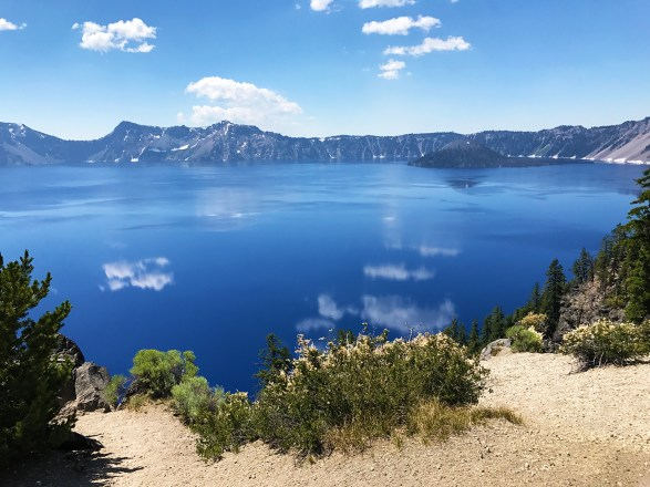 View of Wizard Island and Crater Lake from the Llao Rock Overlook