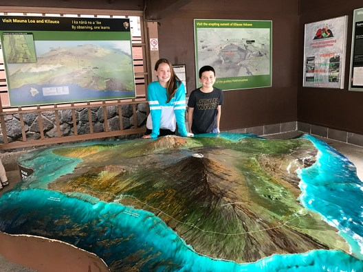 Natalie and Carter Bourn at the Kilauea Visitor Center