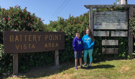 Natalie and Carter Bourn at the Battery Point Vista Area in Crescent City