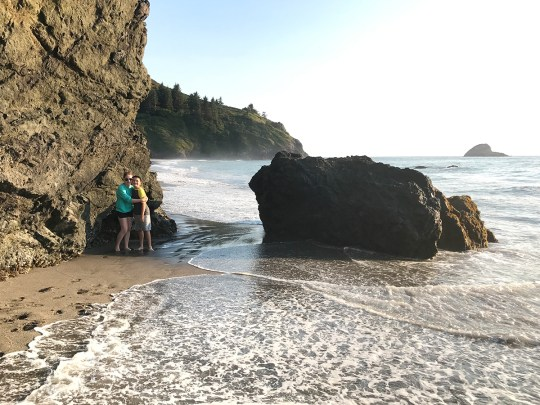 Carter and Natalie Bourn along the cliffs at Trinidad State Beach