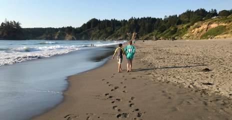 Natalie and Carter Bourn Walking along Trinidad State Beach