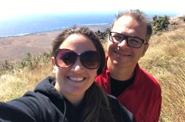 Brian and Jennifer Bourn hiking the Hilina Pali Cliffs