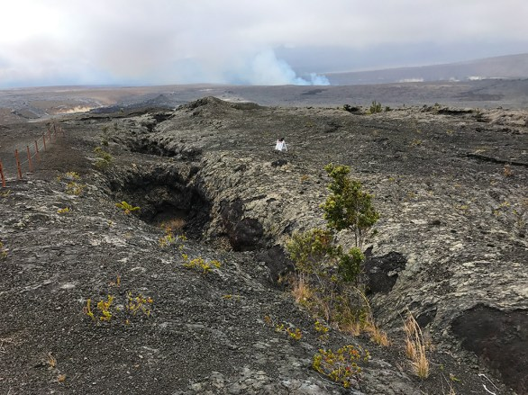 Volcanic Fissure with Smoking Fumaroles at Kilauea Crater