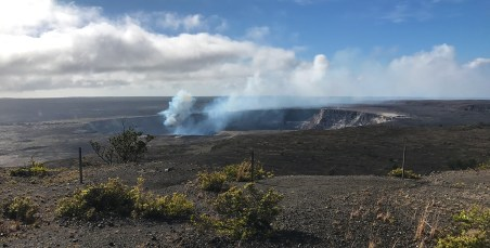 Kilauea Crater View from Jaggar Museum in Hawaii Volcanoes National Park