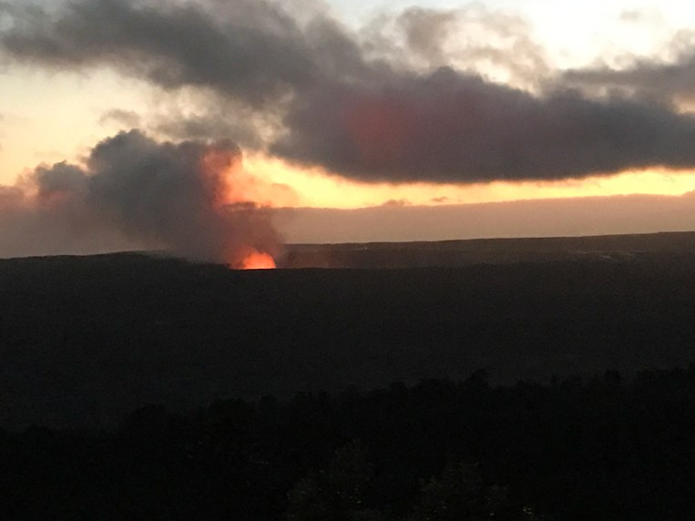 Twilight view of Kilauea Crater from Volcano House Restaurant