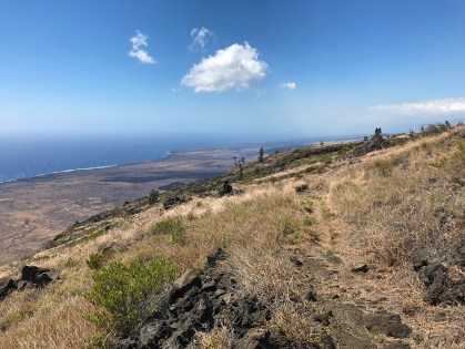 Views of Lava Flows and the Ocean From Hilina Pali