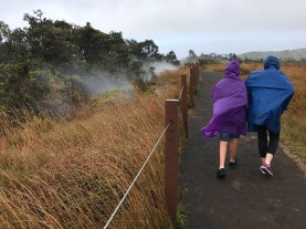 Natalie and Carter Bourn walking the Steam Vents Trail