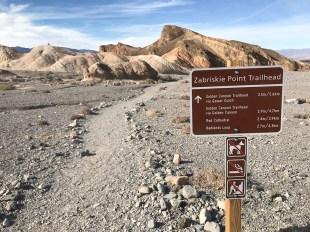 Zabriskie Point Trailhead Sign