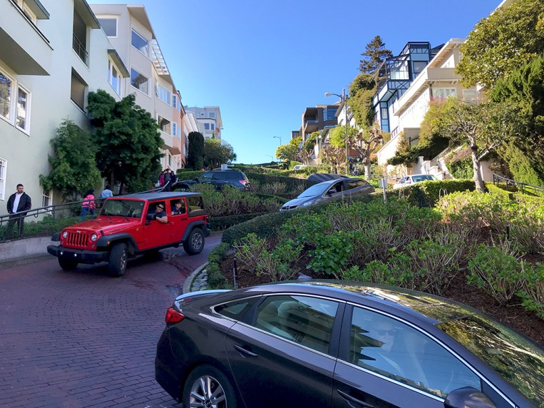 Cars Driving Lombard Street in San Francisco