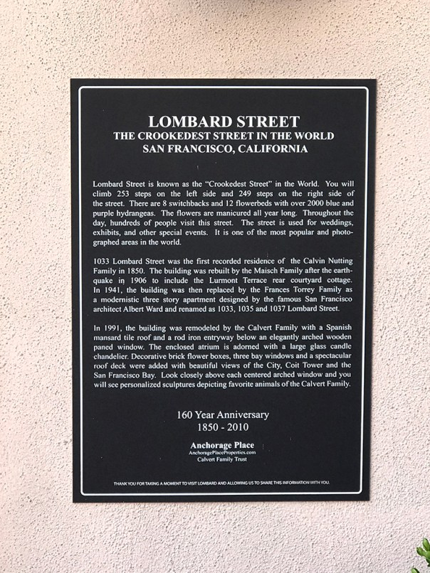 Lombard Street History Sign