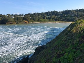 View of Mendocino and Big River Beach From the Mendocino Bay Overlook