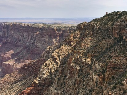 View of the Desert View Watchtower from Navajo Point Overlook