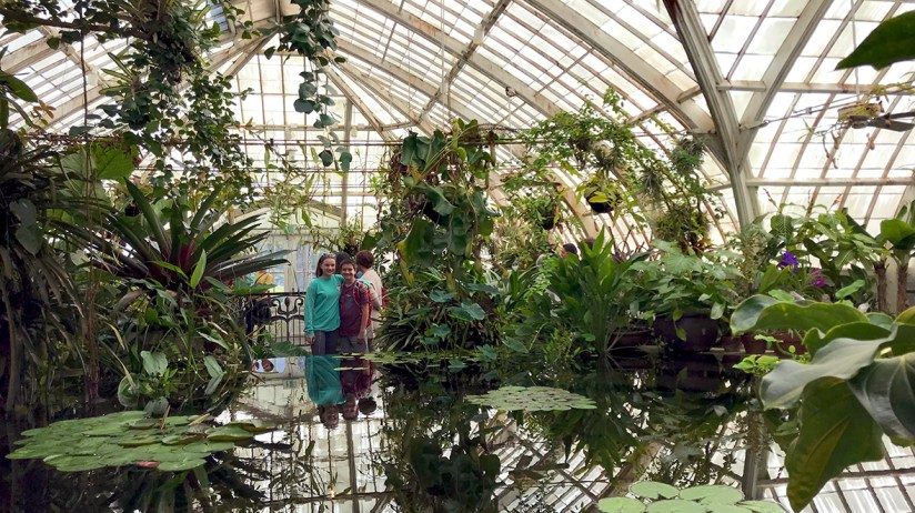 Natalie and Carter Bourn in the Conservatory of Flowers Victorian Glass Greenhouse