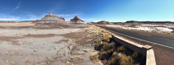 Driving Through Petrified Forest Past The Teepees