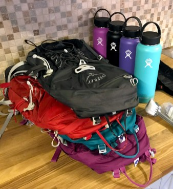 Hiking Backpacks and Hydroflasks
