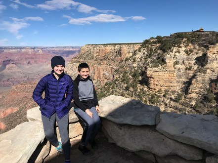 Natalie and Carter at The Lookout in Grand Canyon Village