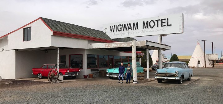 Natalie and Carter Bourn at the Wigwam Motel on Route 66