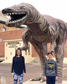 Natalie and Carter Bourn With The Holbrook Museum Dinosaur