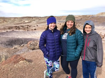 Natalie, Jennifer, and Carter Bourn at Petrified Forest National Park