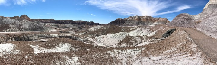 A Panorama of the Blue Mesa Trail in Petrified Forest National Park