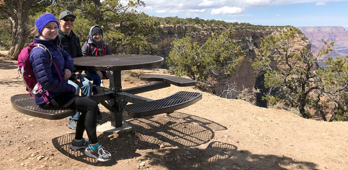 Picnic Table on the Rim Train At Grand Canyon