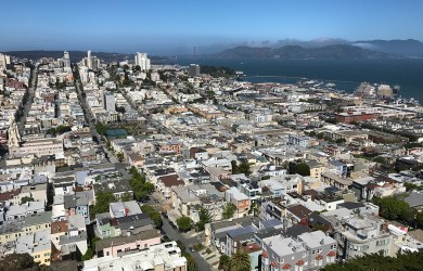 Views of the Golden Gate Bridge From Coit Tower on Telegraph Hill