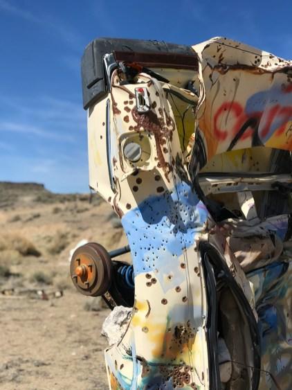 Adbandoned Car Graveyard Painted With Graffiti