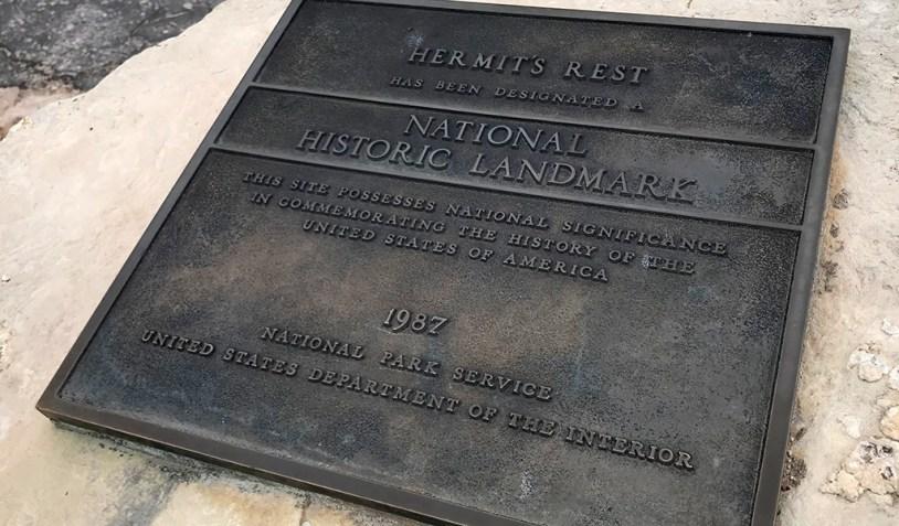 Hermit's Rest National Historic Landmark Plaque
