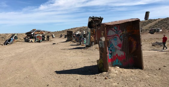 Graffiti Covered Car Forest In Nevada